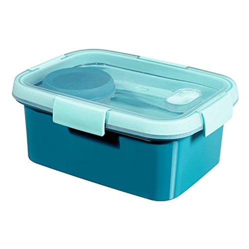 CURVER to Go Lunchbox + Besteck & Zubehör BPA Free (Blau, Rechteck - 1,2L)