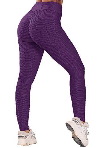 FITTOO Leggings Push Up Mujer Mallas Pantalones Deportivos Alta Cintura Elásticos Yoga Fitness #2 Morado Chica