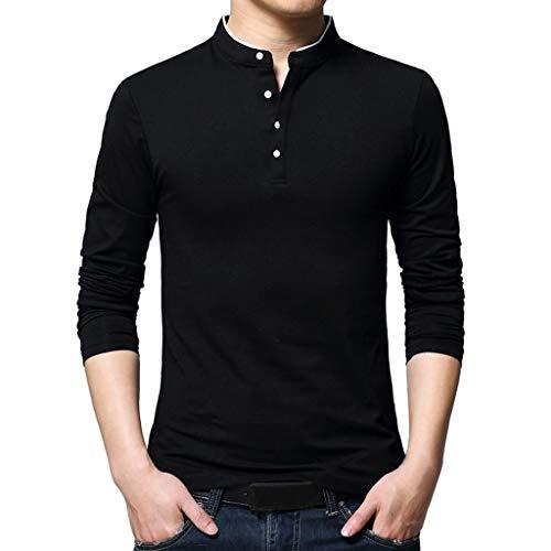 DNOQN Herren Slim Fit T Shirt Longsleeve Poloshirt Mit Brusttasche Stehkragen Langarm T-Shirt Pure Bluse Top Schwarz XXXL