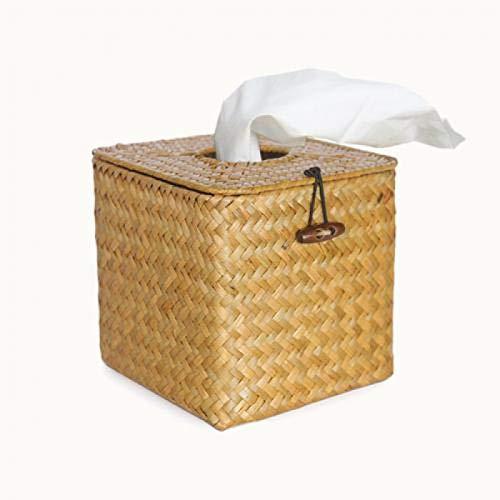 GSDJU Estante de Papel Vintage, Caja de pañuelos de ratán, Elegante decoración del hogar, contenedor de pañuelos de Escritorio Hecho a Mano, Caja de Almacenamiento de servilletas