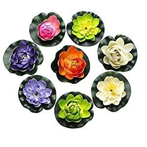 Fendii 8ST Schaum Seerose Blume Dekor künstliche schwimmende Teich Pflanzen gefälschte Lotus Multicolor