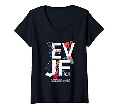 Womens EVJF floral, Enterrement vie jeune fille class,fleurs,2021 V-Neck T-Shirt