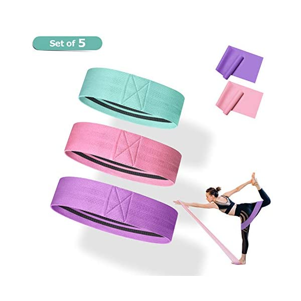 Resistance Bands for Legs and Butt, Elastic Exercise Bands for Work Out, Fabric Booty...