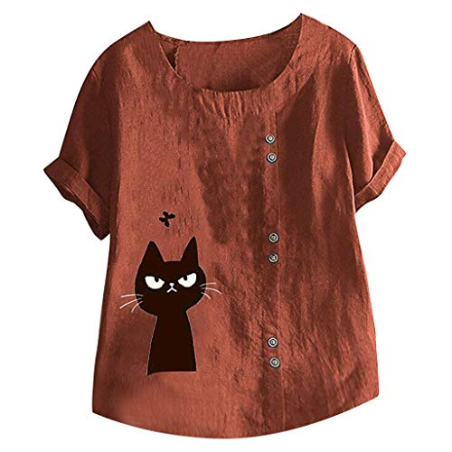 Preisvergleich Produktbild Damen Sommer Herbst T-Shirt O-Ausschnitt Kurzarm Lose Beiläufige Frauen Sexy Bedruckt Stretch Jahrgang Weste Tee Baumwolle Leinen Große Lose Bluse Tops (EU:50,  Rot)