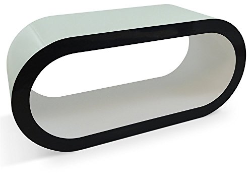 Zespoke Design Blanc Brillant avec Table Côtés Noirs Cerceau de Café TV/Meuble en Différentes Tailles