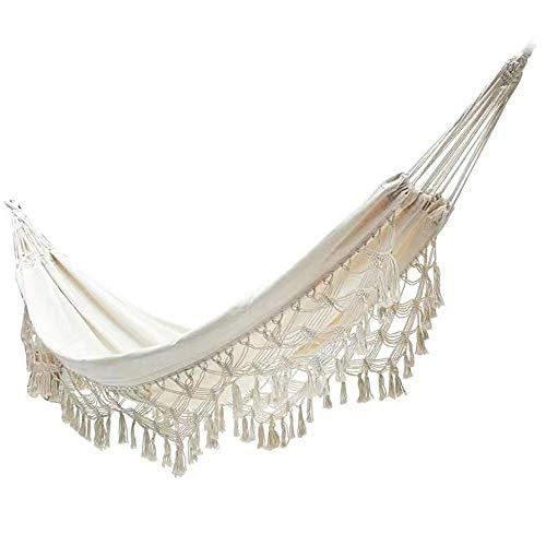 Hamaca colgante de cuerda extra grande para uso en interiores y exteriores, soporte de hamaca de algodón con flecos de macramé, hamaca para decoración de dormitorio