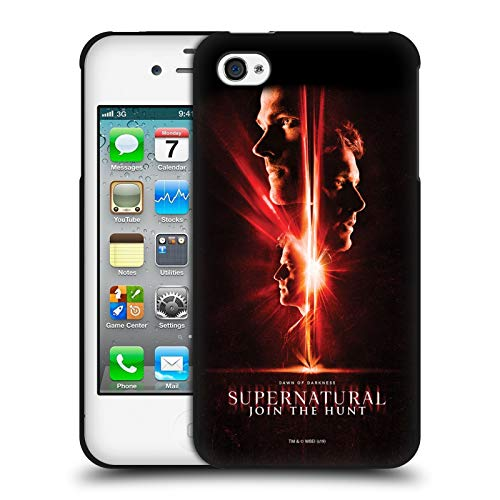 Head Case Designs Licenza Ufficiale Supernatural Sam, Dean & Castiel Arte Chiave Cover Nera in Morbido Gel Compatibile con Apple iPhone 4 / iPhone 4S