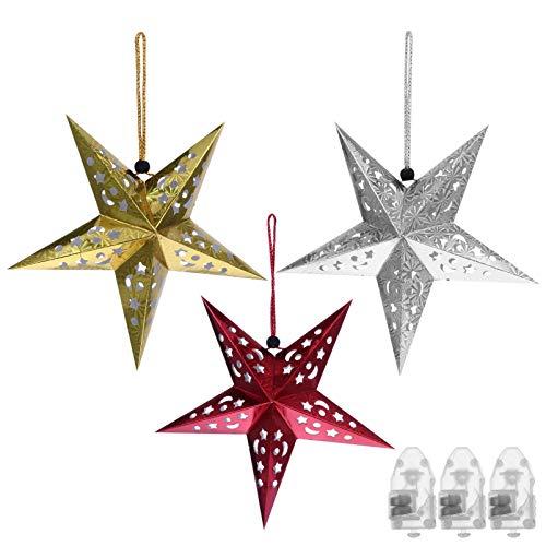 TOYANDONA 6 Stücke LED Papierstern Lampe 30CM Papier Weihnachtssterne mit Beleuchtung 3D Leuchtstern Fensterdeko Stern Weihnachten Beleuchtet Christbaumspitze für Party Weihnachtsbaum Deko
