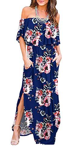 LILBETTER Womens Off The Shoulder Ruffle Party Dresses Side Split Beach Maxi Dress (Flower Navy Blue,Medium)