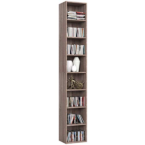 Homfa 180 cm Bücherregal CD DVD Regal Standregal Büroregal Holzregal Kinderregal Wandregal Aktenregal Regalsystem Ordnerregal Regal 8 fächer dunkeleiche