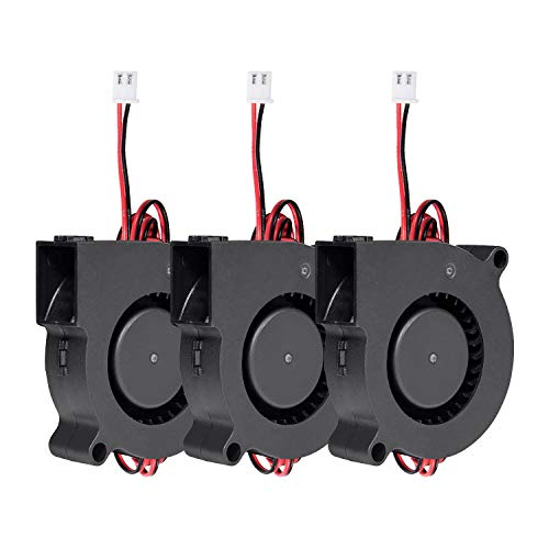 Vordas 3 Pieces 3D Printer Fan - 12V 0.18A DC - 50X50X15mm 5015 Blow Radial Cooling Fan with 1m Cable for Cooling Heatsinks