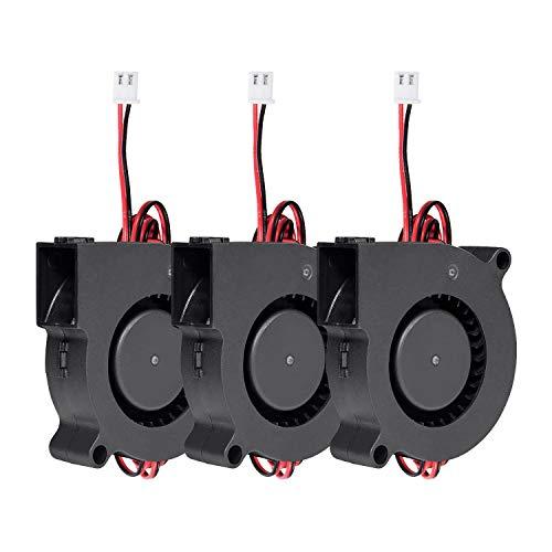 Vordas 3 Pezzi Ventola Stampante 3d - 12V 5015 50 x 50 x 15 mm 5015 con 1m Cavo Ventola Radiatore Del Ventilatore a Turbina per Stampante 3D, Accessor