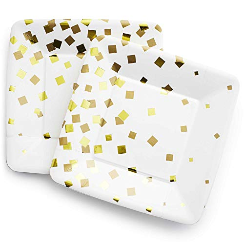 Gold Dessert Paper Plates, 24 Pack Gold/White - Birthday 50th Anniversary Graduation Baby Shower