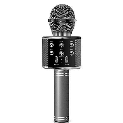 Microfono Karaoke Altavoz Bluethoot 858 Negro Wireless inalambrico grabación Canción niños niñas