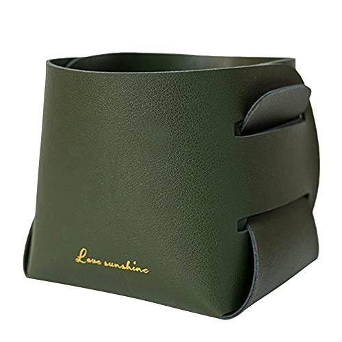 Figutsga - Organizador de cuero con costuras prácticas, para carteras, llaves, monedas, equipo de oficina, color verde oscuro
