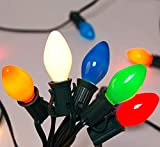 C7 Christmas Lights(25FT) 5 Multi-Color Outdoor&Indoor Ceramic String Lights (Plus 2 Extra Bulbs) for Holidays,Christmas, Prom, Party, Wedding-Green Wire