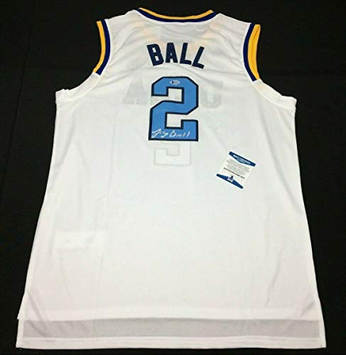 Lonzo Ball Signed White UCLA Bruins Basketball Jersey BAS Beckett J85272 - Beckett Authentication - Autographed College Basketballs