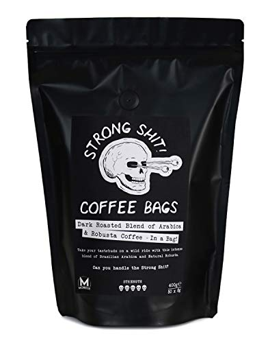 Strong Shit! Coffee Bags - Dark Roasted Blend of Arabica and Robusta (50 Coffee Bags)