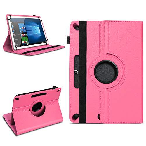 NAUC Schutzhülle kompatibel für Xido Z120 Z110 X111 X110 Tablet Tasche aus hochwertigem Kunstleder Universal 10.1 Hülle Standfunktion 360 Drehbar, Farben:Pink