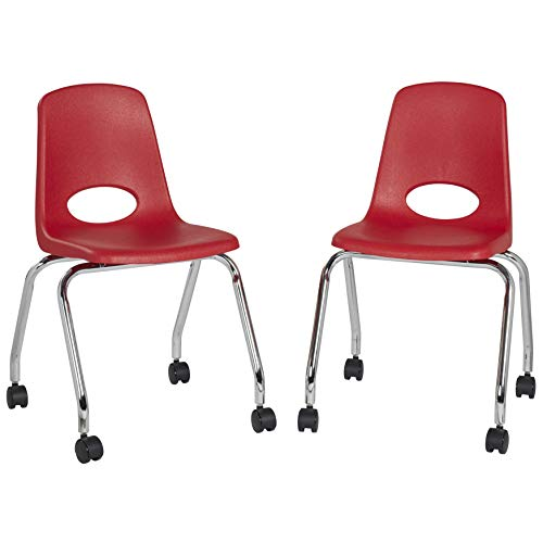 FDP 18' Mobile School Chair with Wheels for Kids, Teens and Adults; Ergonomic Seat for in-Home Learning, Classroom or Office - Red (2-Pack)