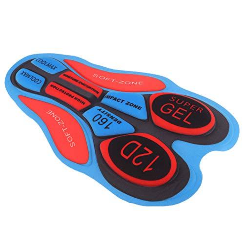B Blesiya Almohadilla de Gel Transpirable 3D Para Pantalones Cortos de Ciclismo Llevar Almohada -  12D rojo azul,  tal como se describe