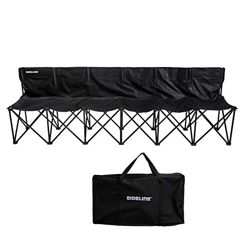 Franklin Sports Sideline Team Bench - 6 Person - Collapsible Sports Bench with Carry Bag - Easy Assembly - Pop Up - Additional Steel Support Poles Provide Extra Stability
