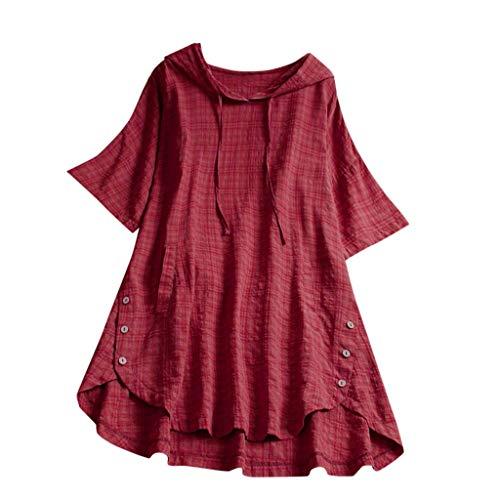 LOPILY Basic Oberteil Damen Kariete Lose Shirt mit Kapuze Long Shirt für Damen Lässige Luftige Tunika für Freizeit Urlaub Bekleidung 1/2 Arm Tops Damen Herbst mit Knopfen (Rot, DE-44/CN-3XL)