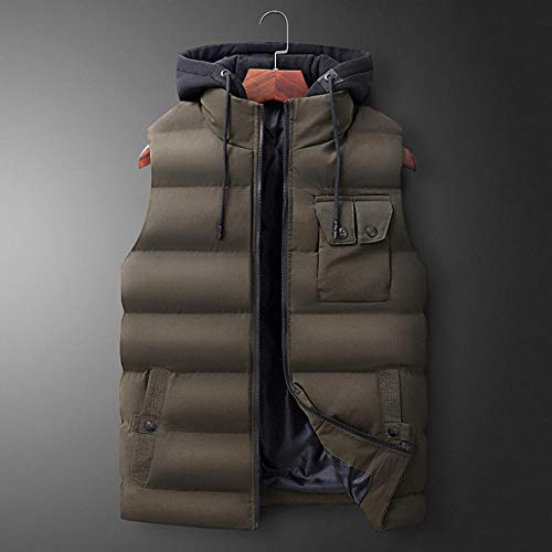Veste en Coton à Capuchon épaisse détachable à Capuche pour Hommes Automne Hiver Veste Grande Taille sans Manches Gilet Body Warmer-Green_6XL