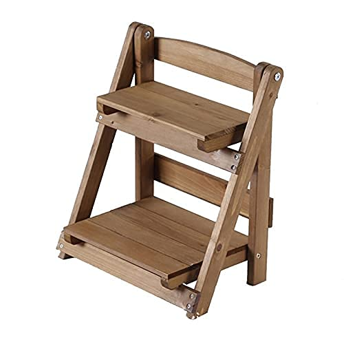 Soporte para plantas de madera de 2 niveles para exteriores y interiores,...