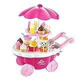 Kochen Kits Kinderspielhaus Spielzeug Simulation Hand Push Candy Auto Spielzeug Mädchen Eis Sack Spielzeug Set Candy Grill Spielzeug Musik Licht Spielzeug 3-7 Geburtstagsgeschenk (Farbe: Rosa, Größe:
