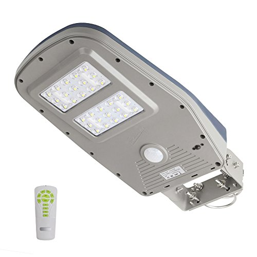 LED Wasserdichte Solar Straßenleuchte Bewegungsmelder Laterne mit Fernbedienung 30 LEDs und 1000 Lumen 12000mAh PIR Wireless Sicherheitsbeleuchtung für Garten Wege Park Einfahrten