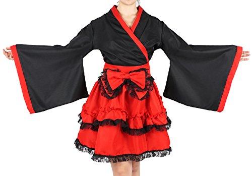 CoolChange Kimono Rojo de Lolita con Falda de Capas, Talla: L