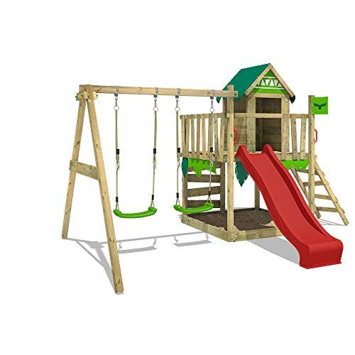 FATMOOSE Spielturm Klettergerüst JazzyJungle mit Schaukel & roter Rutsche, Spielhaus mit Sandkasten, Leiter & Spiel-Zubehör