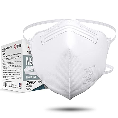 MERILOGY N95 Mask Respirator [ Made in USA ] NIOSH Certified N95 Particulate Respirators Face Mask (Pack of 20) - Not for Medical Use, White, Adult (Model: ME501831)