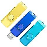 KOOTION Memorias USB 64GB 3.0 3 Pack USB Pendrive 64 Gigas USB Flash Drive 64GB 3 Piezas Lote Pincho USB Set de 3 Unidades Pen Drive Giratorio de Alta Velocidad, Oro, Azul Claro y Azul Oscuro