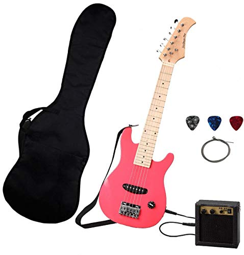 Stedman Kid Series Electric Guitar Pack with 5-Watt Amp, Gig Bag, Strap, Cable, Strings, Picks, and Wrench - Pink