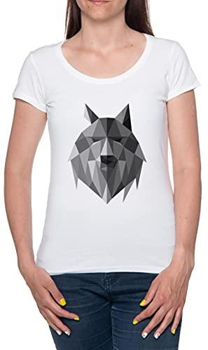 Geométrico Lobo Desde los Norte Camiseta De Las Mujeres Manga Corta Blanco T-Shirt Women White tee XXL