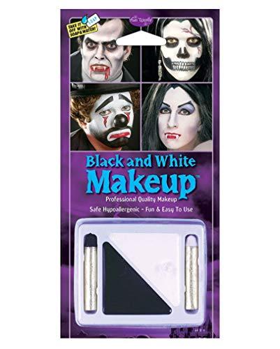 Horror-Shop Schwarz-Weiß Make Up Set für Fasching & Halloween