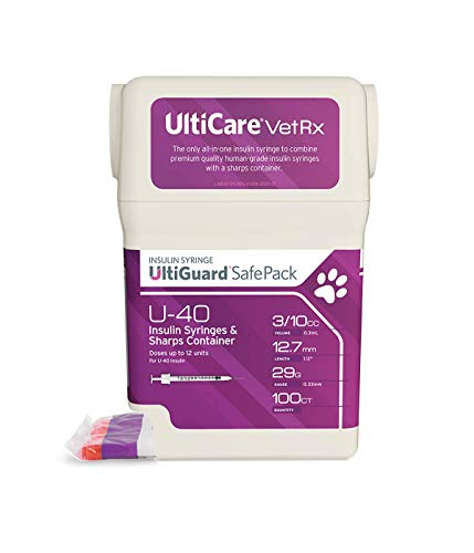 UltiCare VetRx U-40 UltiGuard Safe Pack Pet Insulin Syringes 3/10cc, 29G x 1/2', 100ct (W/o 1/2 Unit Markings)