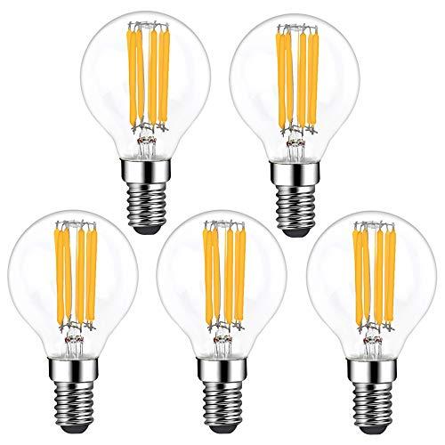 Klarlight 6W E14 LED Filament Lampen Dimmbar 2700K Warmweiß P45 SES Kleine Edison Schraube Vintage Glühbirne 35W-40W Glühlampe Äquivalent Glas, für Schlafzimmer Wohnzimmer Küche (5er Pack)