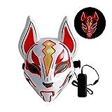 Lixada 10 Farbe Fuchs Vollmaske Neonlichter Halloween Party Led Lampenschirm Dunkel Glühend Cosplay Maske Party Kostüm Maske (Red)