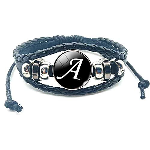 26 letras A-Z cristal Snap Metal Bead pulsera ID nombre amistad negro trenzado pulsera hombres mujeres niños familia regalo