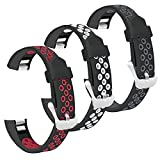 SKYLET Compatible with Fitbit Ace Kids/Alta/Alta HR Bands Women Men, 3 Pack Sport Silicone Breathable Replacement Wristbands for Alta/Alta Hr Strap (Gray/Red/White, Small)