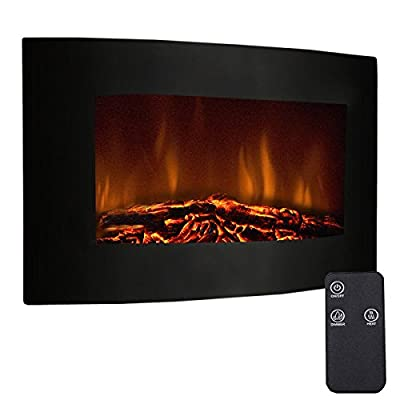 """Tangkula 35"""" Recessed Electric Fireplace, Adjustable Electric Wall Mount Fireplace Heater with Remote Control, 750W-1500W, Black"""