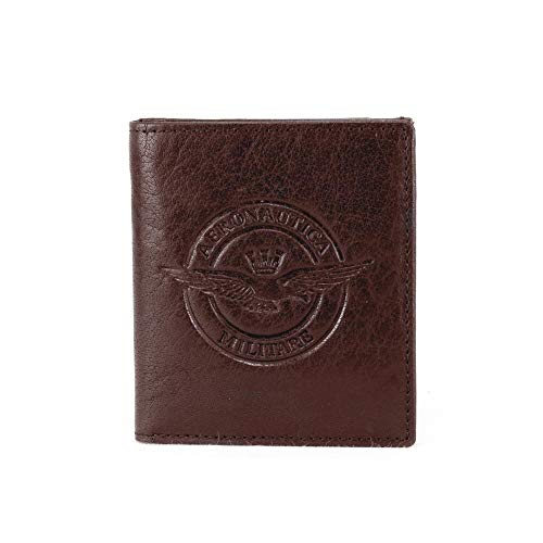 Leather wallet with coin pocket Aereonautica Militare MORO