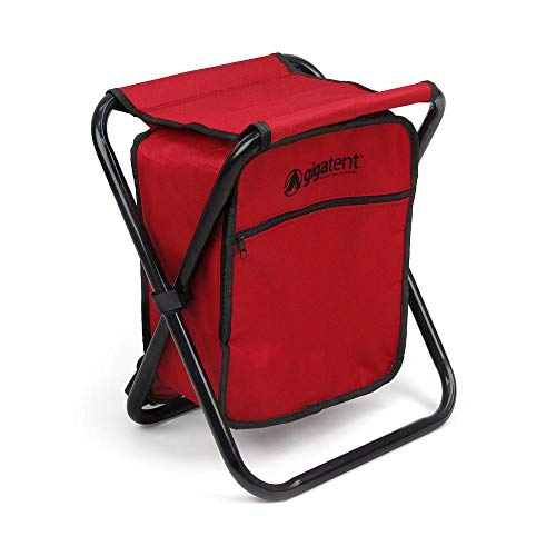 GigaTent Folding 3 in 1 Stool Backpack Folding Stool with Cooler Bag - Camping Hunting Fishing Multifunction Collapsible Camping Seat and Insulated Ice Bag with Padded Shoulder Straps (Red)