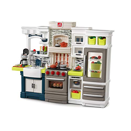 Step2 Elegant Edge Kitchen | Large Kids Kitchen Playset with Realistic Lights & Sounds | Over 70-Pc Play Food & Toy Accessories Set Included