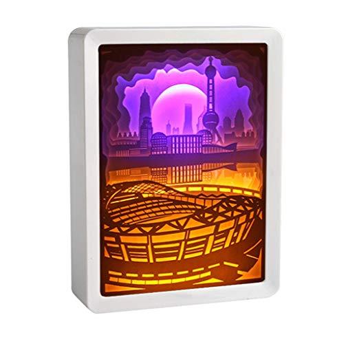 Watopi Luz decorativa Regalos de papel artcraft paisaje sombra luz sombra mando a distancia creativo luz nocturna para regalos amantes de la boda sala de mesa de pared