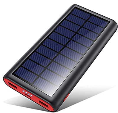 VOOE Solar Power Bank, 26800mAh Portable Charger Fast Charging External Battery Pack with Dual USB Output High Capacity Portable Phone Charger for Smart Phones Tablets and More