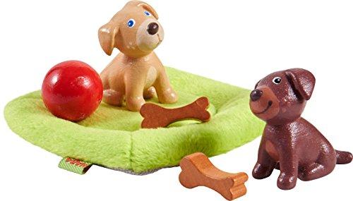 Haba Little Friends 303892 - hondenbaby's | schattige huisdieren voor de Little Friends biespop | met hondenkussen, botten en bal | gemaakt van duurzaam kunststof voor lang speelplezier